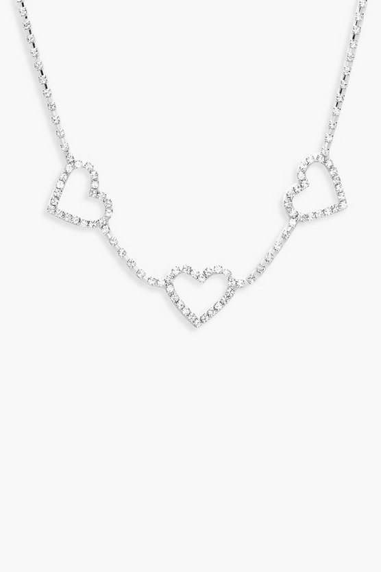 Womens Silver Heart Diamante Choker