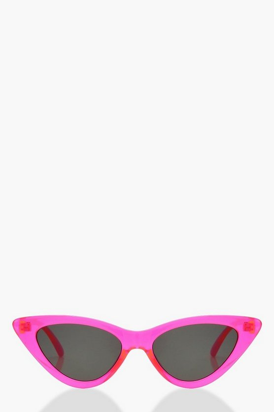 Womens Pink Neon Cat Eye Sunglasses