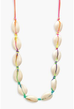 Womens Multi Neon Shell Choker Necklace