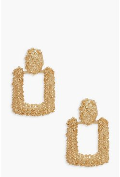 Small Square Textured Statement Earrings, Gold, Donna
