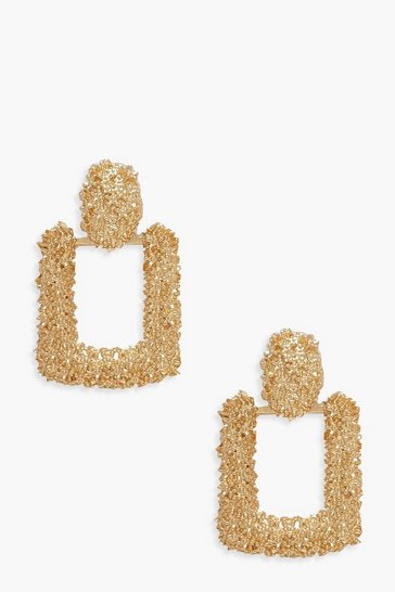 Womens Gold Small Square Textured Statement Earrings