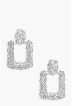 Womens Silver Small Square Textured Statement Earrings