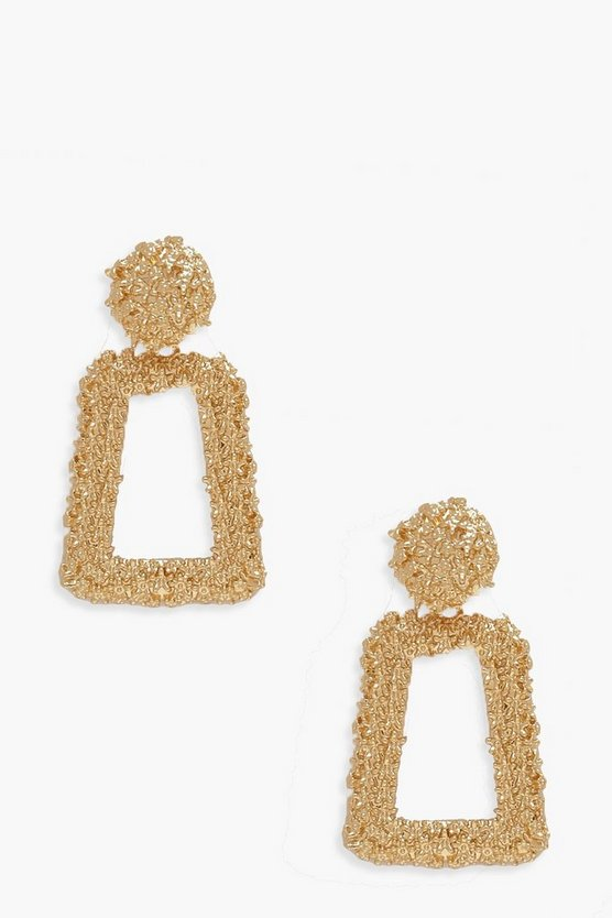 Womens Gold Small Textured Statement Earrings
