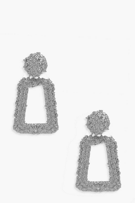 Womens Silver Small Textured Statement Earrings