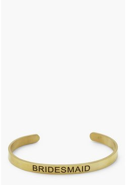 Womens Gold Bridesmaid Engraved Bangle