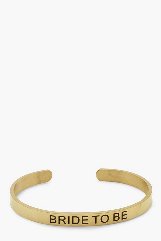 Gold Bride To Be Engraved Bangle