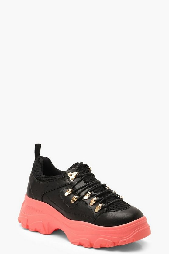 Womens Black Contrast Sole Lace Up Chunky Hiker Trainers