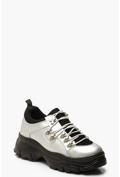 Contrast Sole Lace Up Chunky Hiker Trainers, Silver, Donna