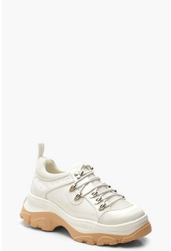 Lace Up Chunky Hiker Trainers, White, Donna