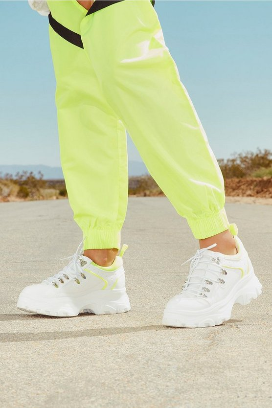 Neon Panel Lace Up Chunky Hiker Trainers