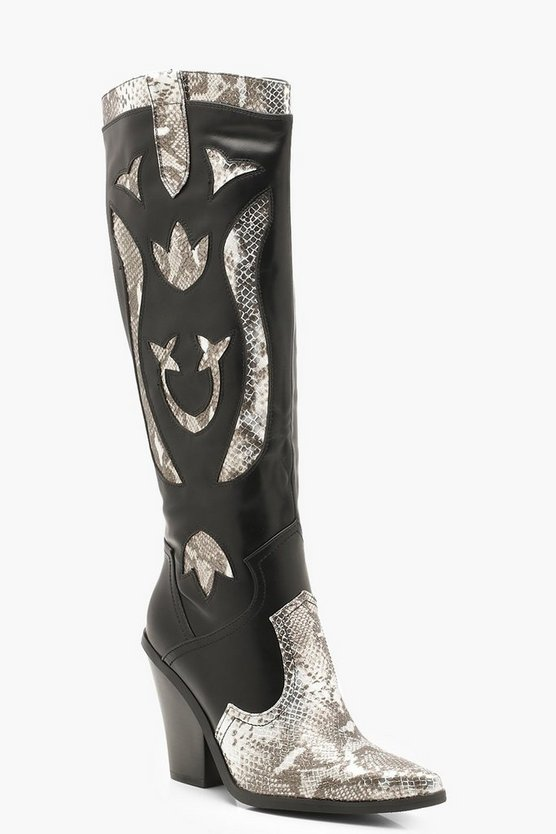 Womens Black Over The Knee Snake Panel Cowboy Boots