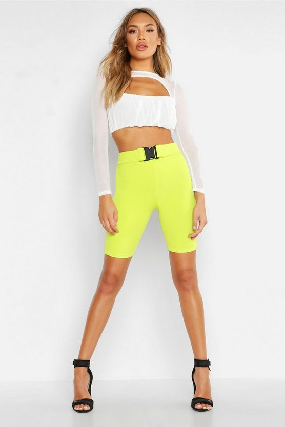Womens White Keyhole Detail Ruched Mesh Crop Top