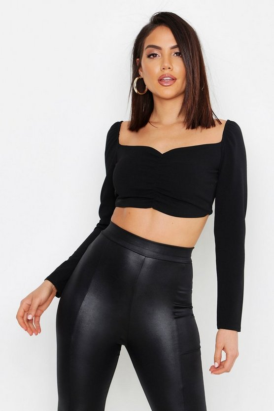 Ruched Front Puff Sleeve Peasant Crop Top, Black, Donna