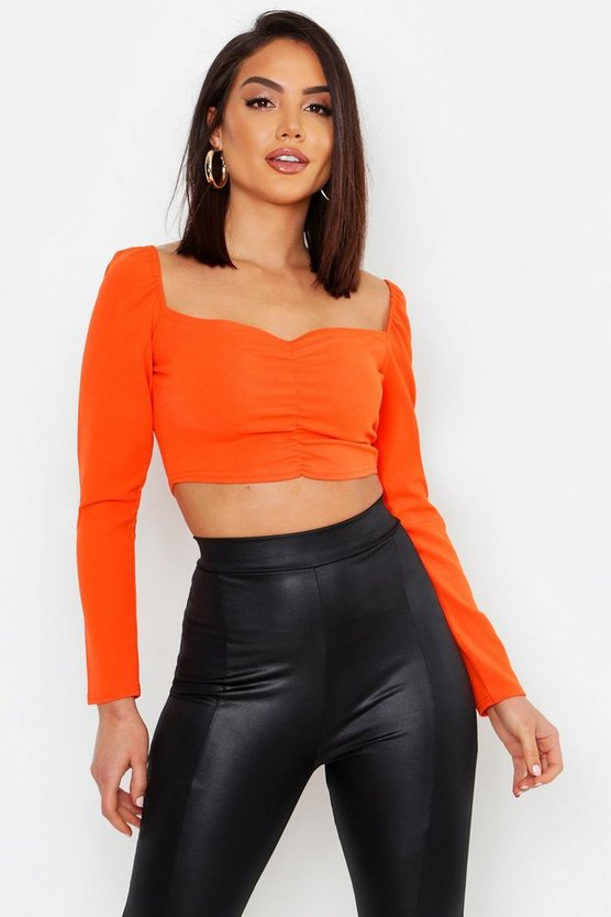 Ruched Front Puff Sleeve Peasant Crop Top, Orange, Donna