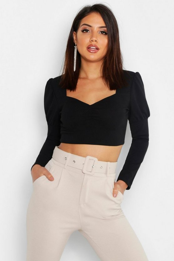 Black Ruched Front Puff Sleeve Peasant Crop Top