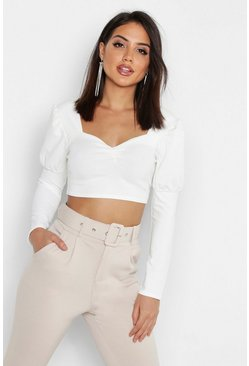 Womens White Ruched Front Puff Sleeve Peasant Crop Top