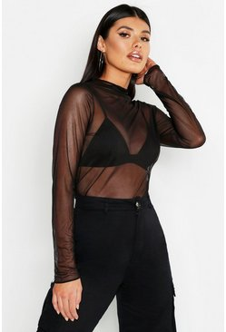 Womens Black Mesh Long Sleeve Top