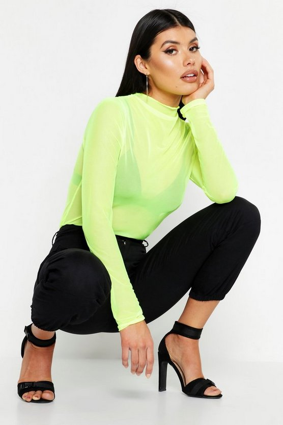 Mesh Long Sleeve Top, Neon-lime, Donna