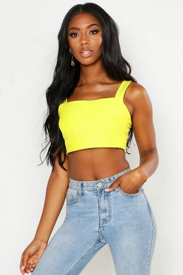 Womens Lime Woven Stretch Square Neck Crop Top