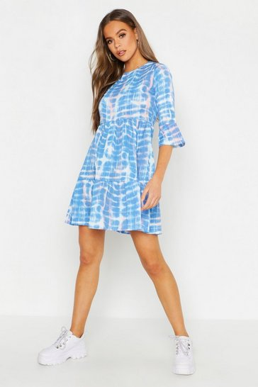 Womens Blue Tie Dye Smock Dress