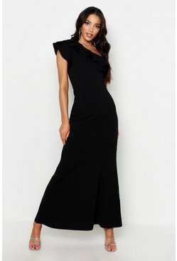 One Shoulder Ruffle Maxi Dress, Black, Donna