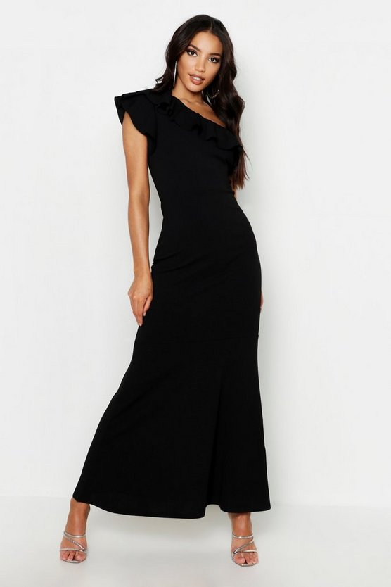 Womens Black One Shoulder Ruffle Maxi Dress