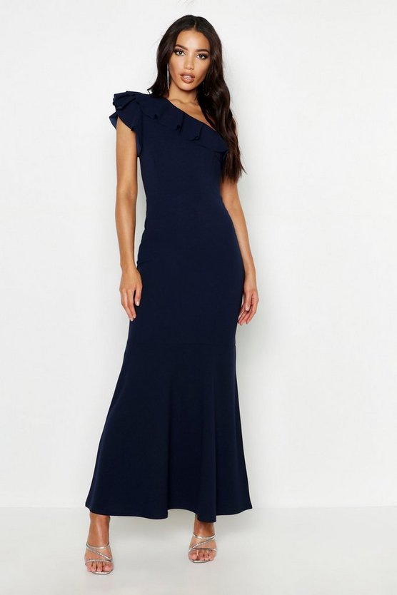 Womens Navy One Shoulder Ruffle Maxi Dress