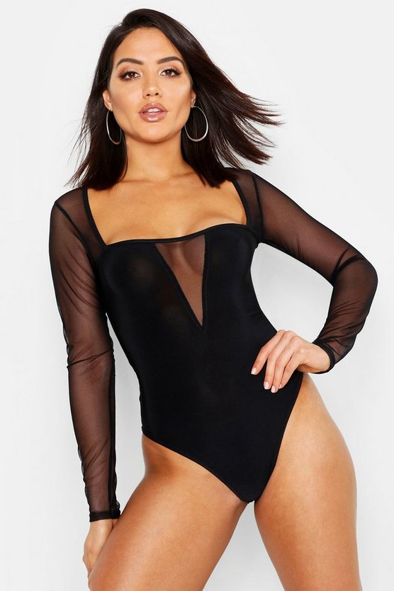 Womens Black Plunge Square Neck Mesh Bodysuit