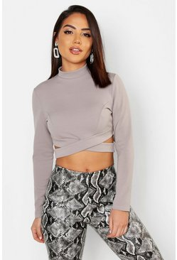 Womens Grey High Neck Long Sleeve Cut Out Crop