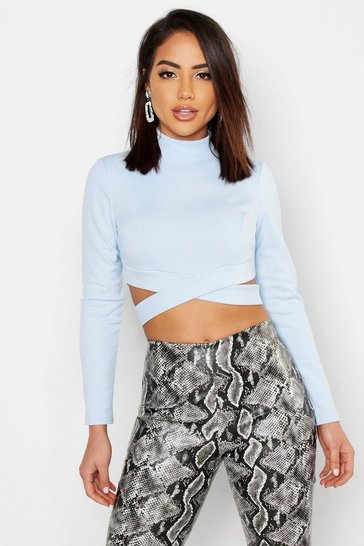Womens Sky High Neck Long Sleeve Cut Out Crop