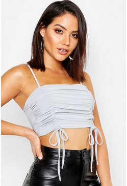 Womens Grey Ruched Square Neck Bralet