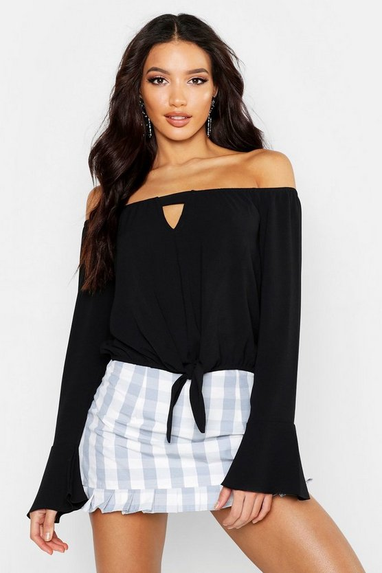 Womens Black Woven Tie Waist Off The Shoulder Top