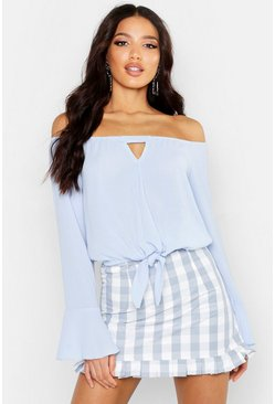 Womens Blue Woven Tie Waist Off The Shoulder Top