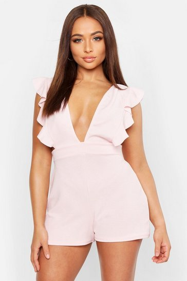 Womens Blush Ruffle Pinafore Playsuit