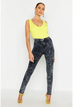 Womens Black High Waisted Acid Wash Denim Disco Jeans