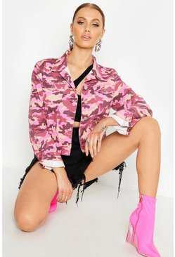 Womens Pink Camo Cropped Denim Jacket