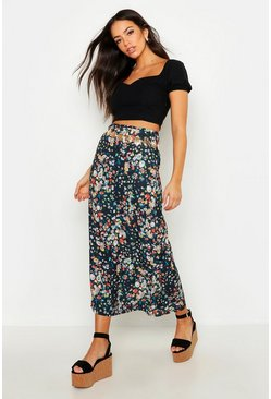 Womens Black Ditsy Print Midi Skirt