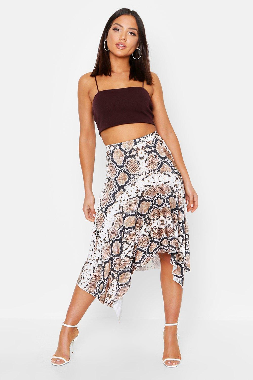 Snake Print Asymetric Hem Skirt