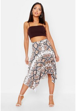 Womens Brown Snake Print Asymetric Hem Skirt