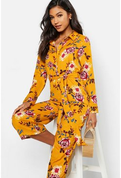 Womens Mustard Floral Shirt Style Jumpsuit
