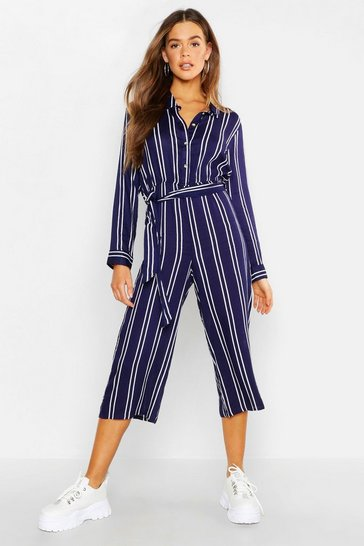Womens Navy Striped Shirt Style Jumpsuit