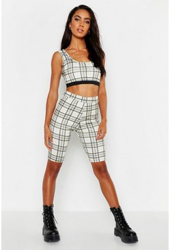 Womens Beige Check Cycling Short