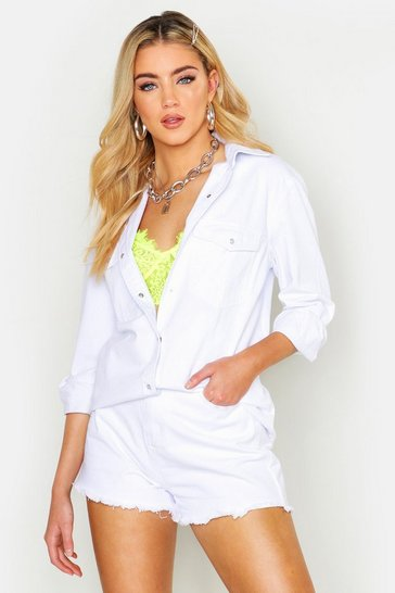 Womens White Oversize Pocket Front Denim Shirt