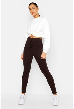Womens Chocolate Tie Detail Leggings