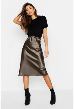 Womens Khaki Satin Bias Cut Midi Skirt