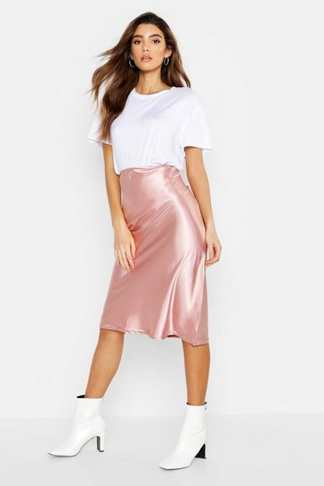 Womens Nude Satin Bias Cut Midi Skirt