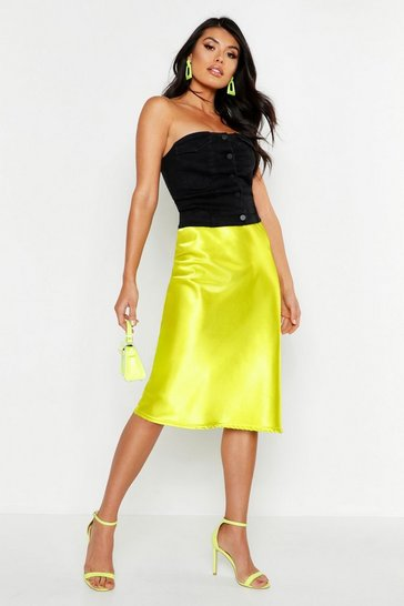 Womens Lime Satin Bias Cut Midi Skirt
