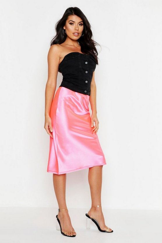 Womens Pink Satin Bias Cut Midi Skirt