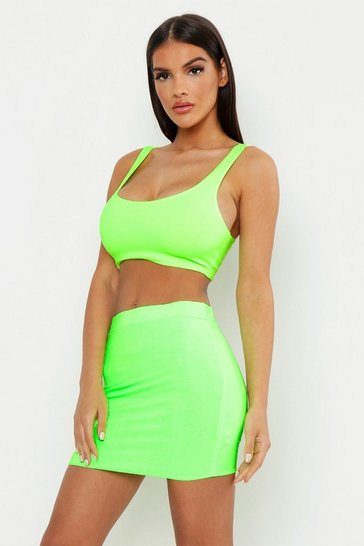 Womens Neon-green Double Layer Slinky Neon Mini Skirt