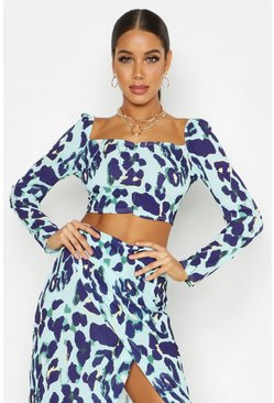 Womens Aqua Off Shoulder Leopard Print Crop